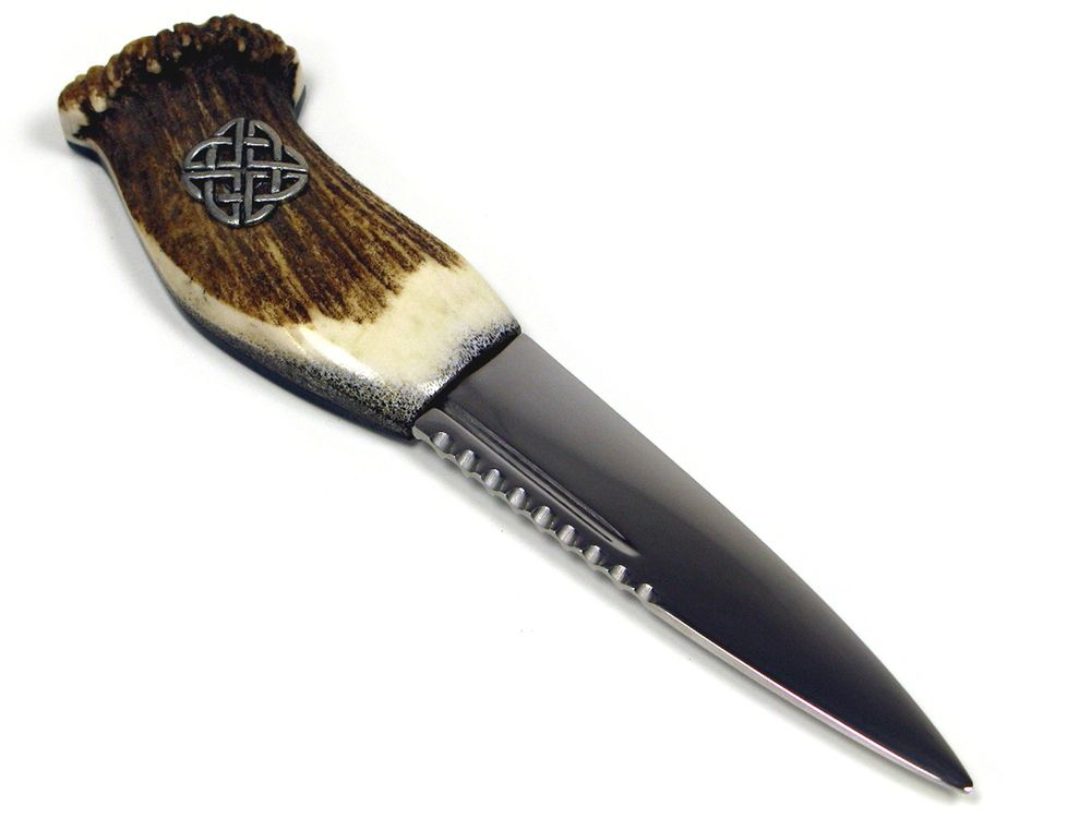 Stag Antler Handle Sgian Dubh With Celtic Cross Knife
