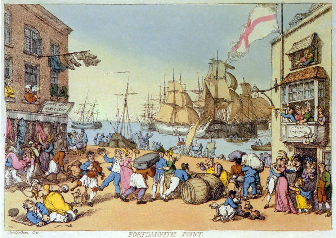 """Portsmouth Point by Thomas Rowlandson (etching) 1811.   Portsmouth Point, or """"Spice Island"""", is part of Old Portsmouth in Portsmouth, Hampshire, on the southern coast of England. The name Spice Island comes from the area's seedy reputation: it was here men were press-ganged into Nelson's navy, for its hostelries and for being where prostitutes plied their trade. It was known as the """"Spice of Life""""."""