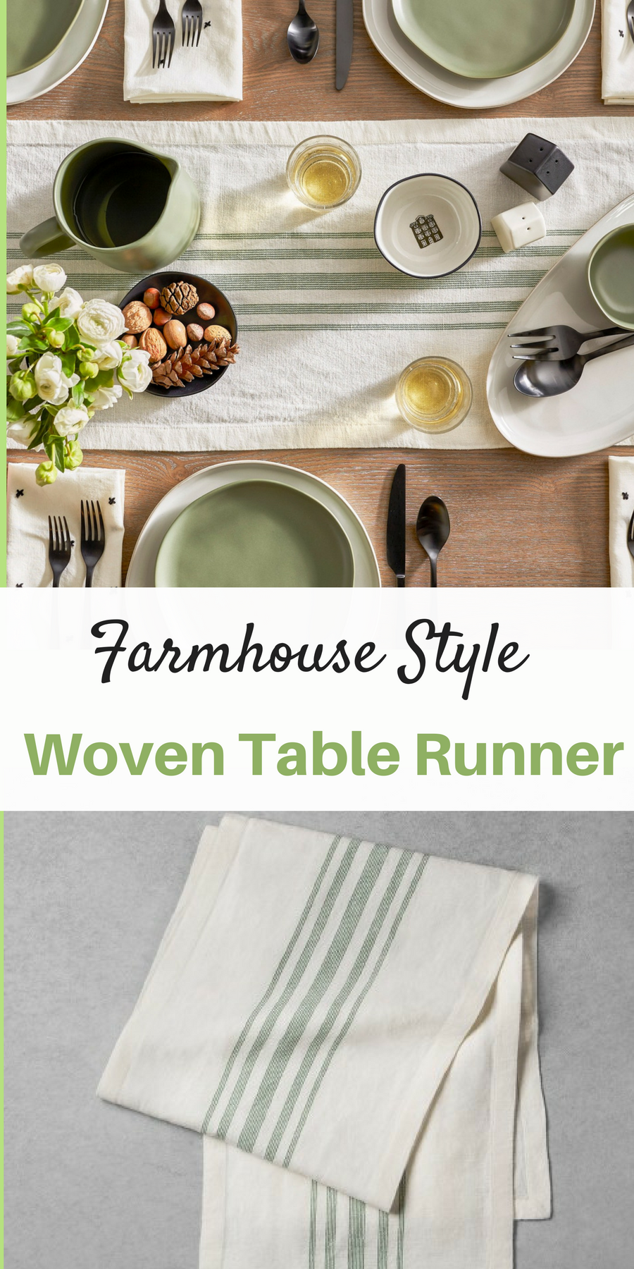 Striped Woven Table Runner Green And White Farmhouse