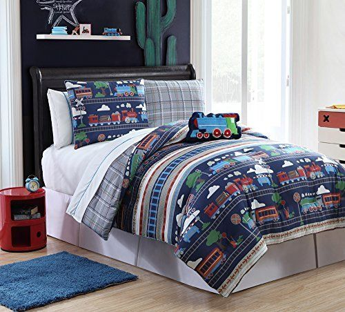 7 Pc Reversible Train Comforter Set Bed In A Bag Twin Size