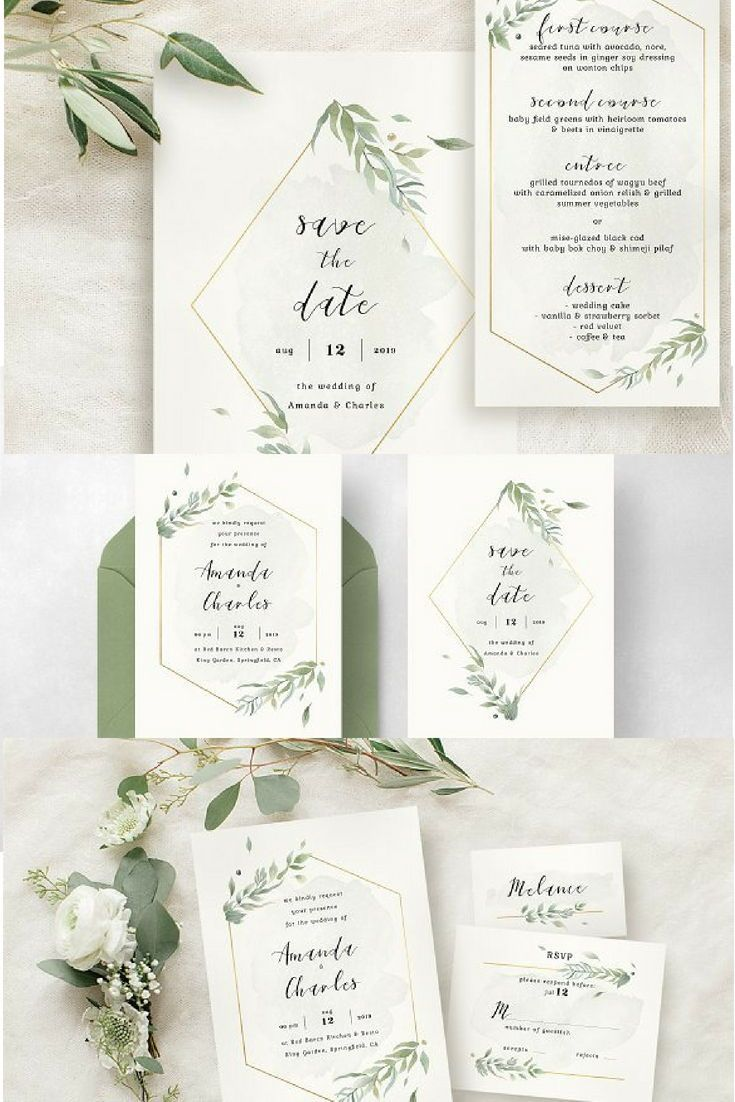Modern gold foliage wedding suite invitation template succulent