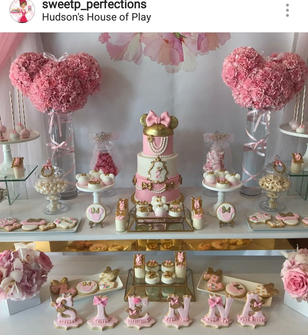 Fancy Minnie Mouse Birthday Party Dessert Table And Decor Girl Birthday Decorations First Birthday Decorations Girl Birthday Parties