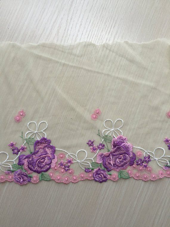 Embroidery Light Purple Yellow Embroidered Cutwork Daisy Placemat Runner Fabric