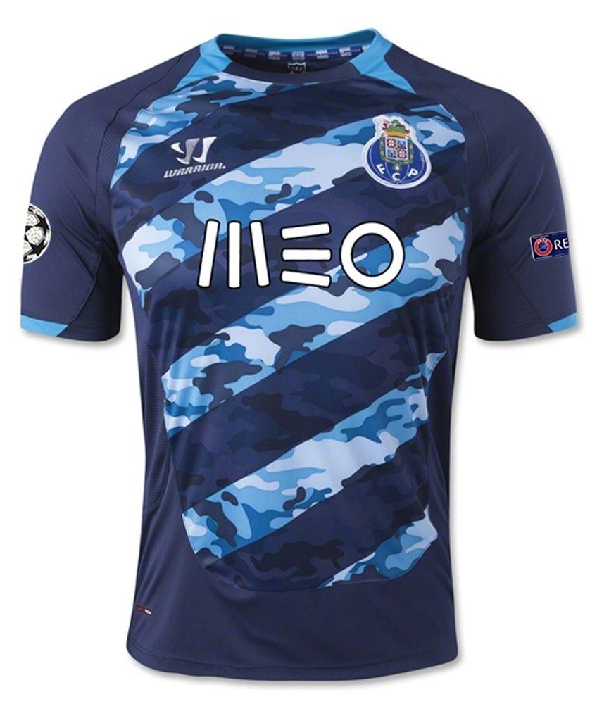 e15bafcee2 FC Porto s 14 15 away jersey has a unique camouflage design. New design has  five light blue diagonal stripes with a bold white and dark blue camo flag  ...