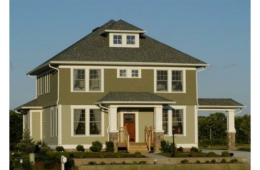 American four square note columns two tone green - Try out exterior paint colors online ...