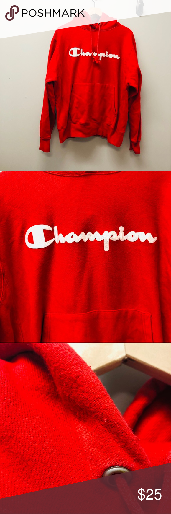 Champion red hoodie Men's medium Red Champion hoodie with white design. Classic, bit oversized hoodie with front pocket. This item is in good condition with slight pilling & fading but otherwise in gently used condition.  I will update listing with measurements soon  Open to offers  Aloha Always!