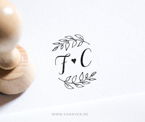 personalized round wooden  stamp Monogram wedding stamp