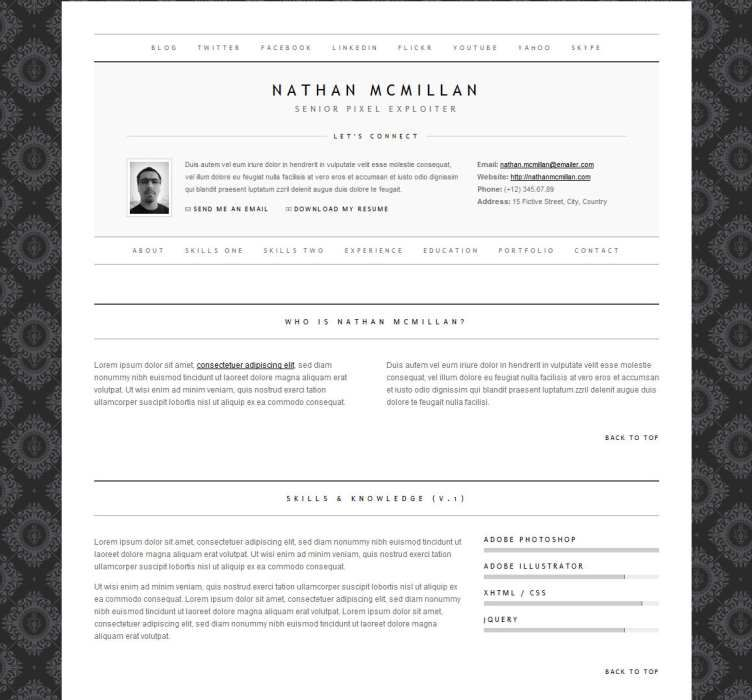 This resume website template offers a built-in Ajax\/PHP contact - html resume template