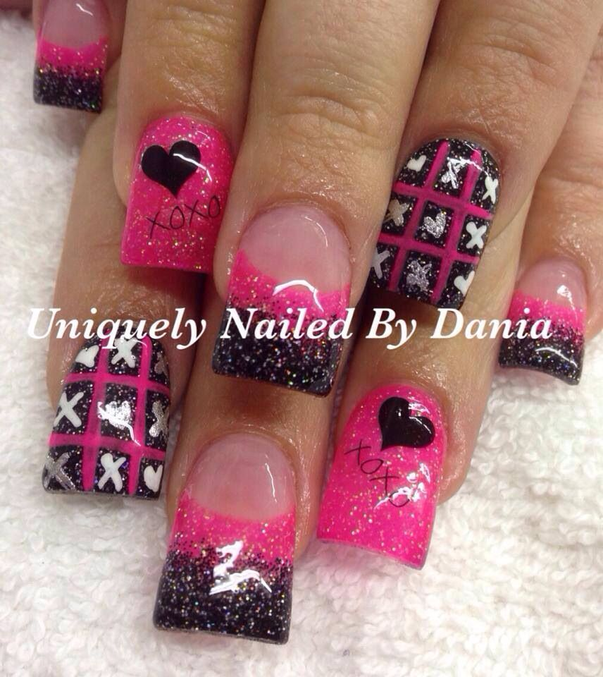 valentine's day nails acrylic