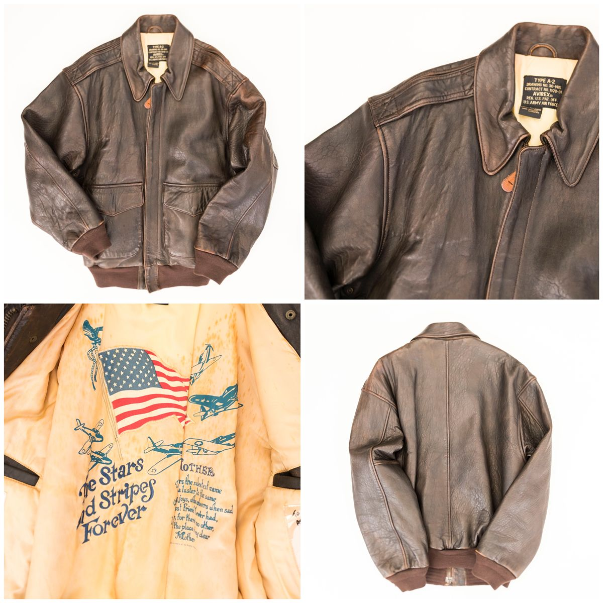 20a8174cf0907 Plain AVIREX The Stars Stripes Forever Leather Military Flight Bomber Jacket  Type A-2 US Army Air Force ( Size   S ) - Japan Lover Me Store