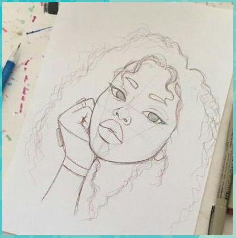Weibliches Porträt eines Mädchens mit lockigem Wolle    Pencil D