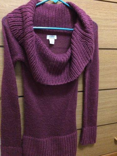 Guess Women's Purple Sangria Cowl Neck Sweater Dress Size S