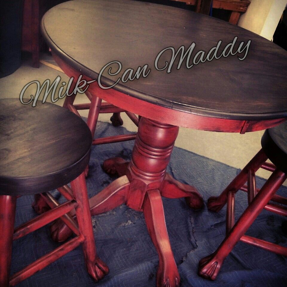 Pub Table Finished In Antique Red With Dark Kona Stained Tops. More