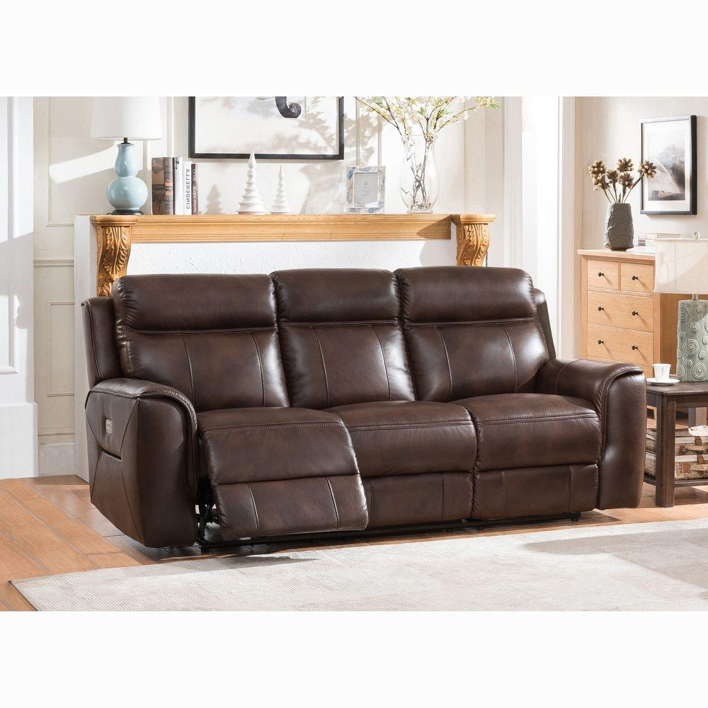 Taft Brown Top Grain Leather Power Reclining Sofa With Power Headrests Reclining Sofa Power Recliners Deep Sofa
