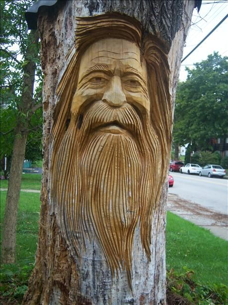 Old Man Face In Beaver Pa Carved Tree Stump Wood Sculpture