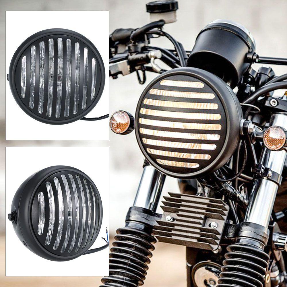 pas cher universel 6 3 pouce moto phare argent couleur avec chrome grill style pour harley caf. Black Bedroom Furniture Sets. Home Design Ideas