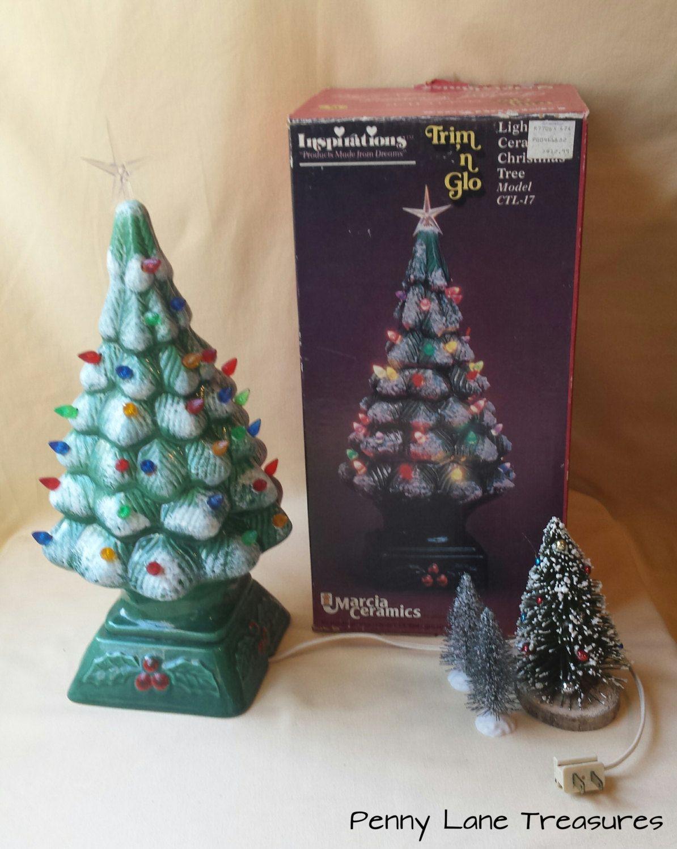 Vintage Lighted Ceramic Christmas Tree Trim N Glo 39 17 Quot Tabletop Tree Multi Co Ceramic Christmas Trees Christmas Tree Trimming Vintage Christmas