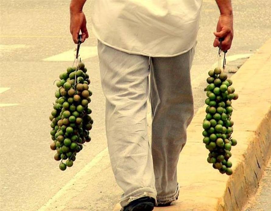 Vendedor Ambulante en la calle este Vende Mamones