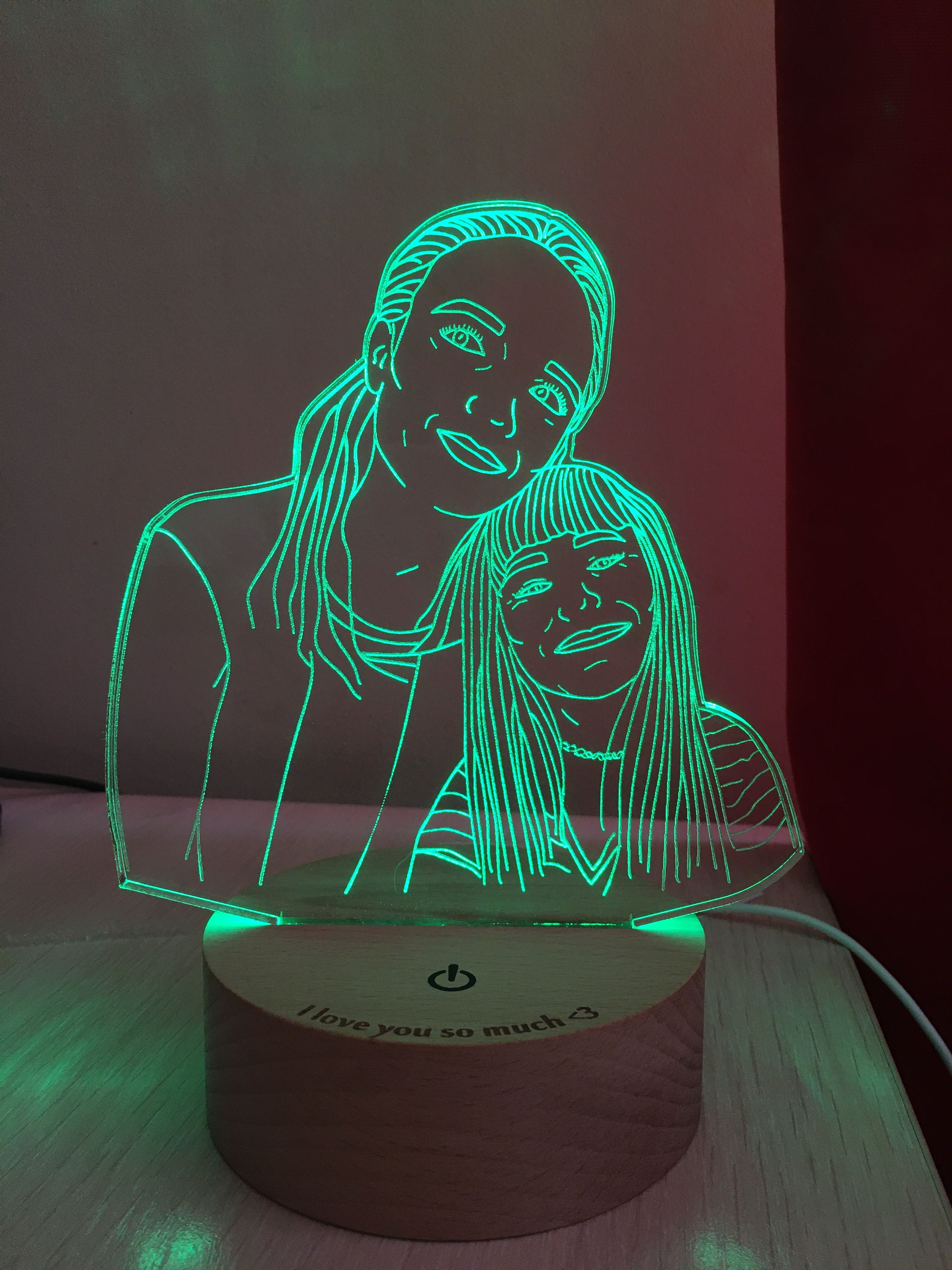 Custom Photo Desk Led Lamp Drawing From Photo 5th Anniversary Gift Nightlight Led Dimmable Touch Remote Switch Nightlight Led Lamp In 2020 Lamp 3d Led Lamp Photo Lamp