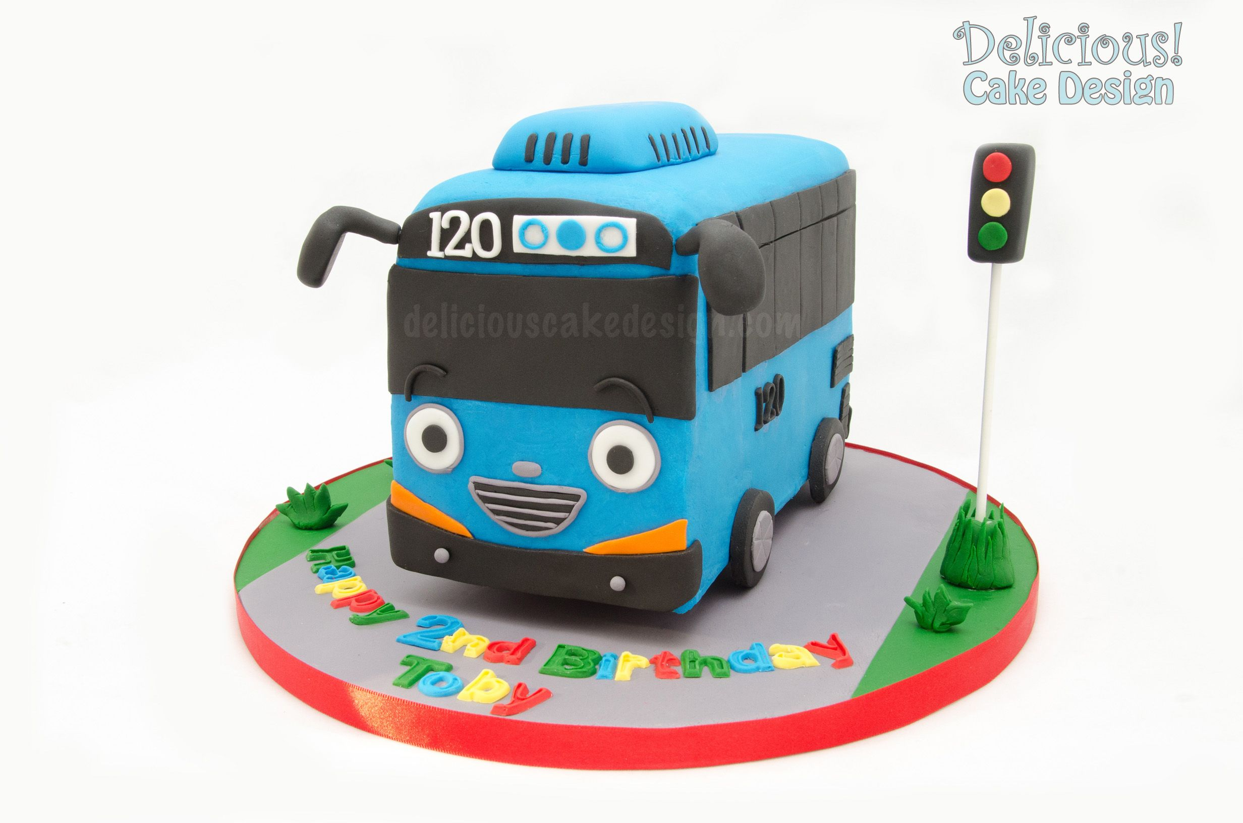 Tayo Bus Cake Right Side Sml Jpg 2464 1632 Bus Cake Tayo The Little Bus Car Cakes For Boys
