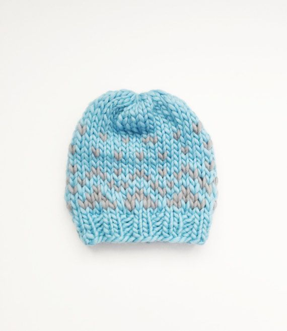 ADULT Fair Isle Knit Robin\'s Egg Blue & Grey beanie/toque/winter hat