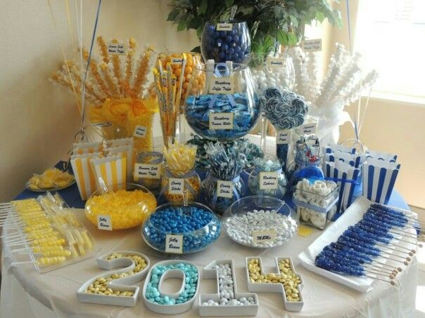 My Graduation Event Yellow Blue And White Candy Buffet Candy