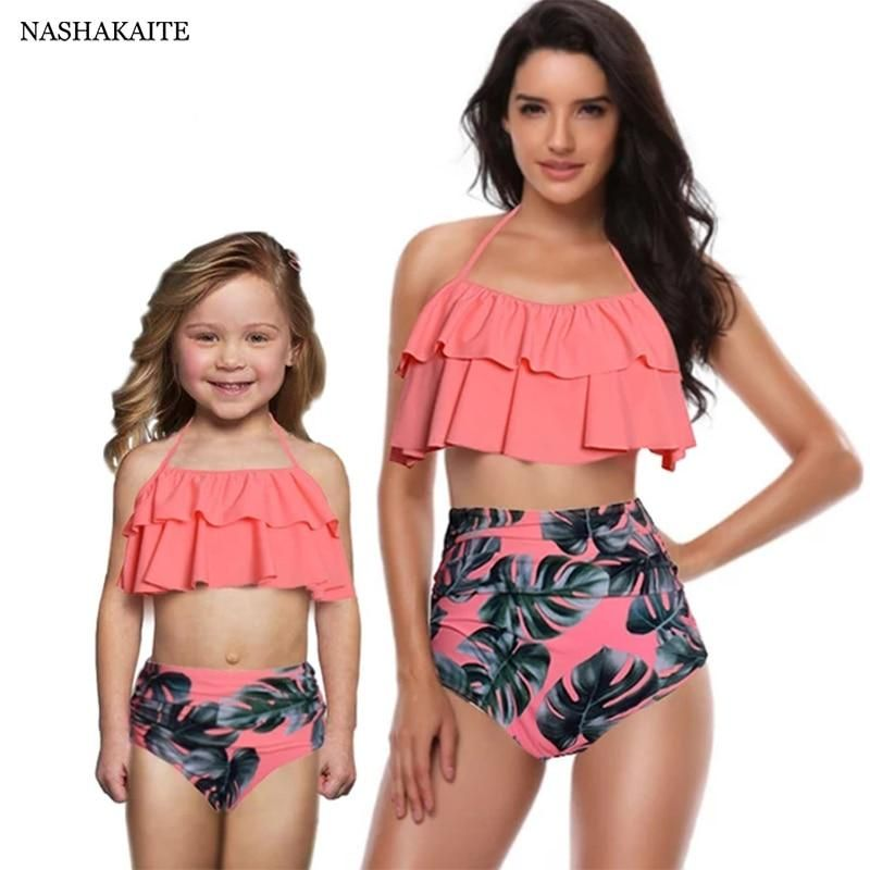 Leaf Print Ruffled Mother Daughter matching swimwear Summer Bikini