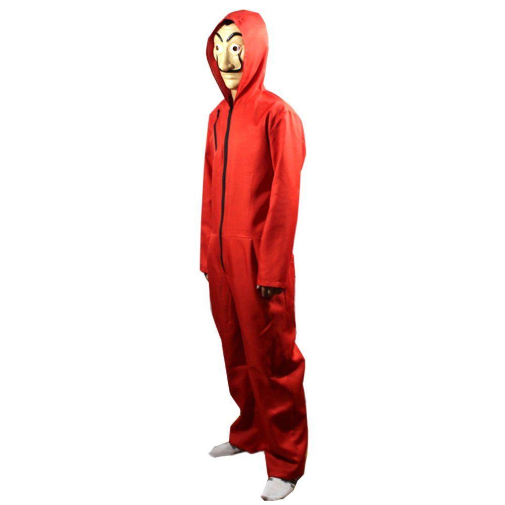 La Casa De Papel Costume Hoodie with Salvador Dali Mask Money Heist The Paper House Jumpsuit