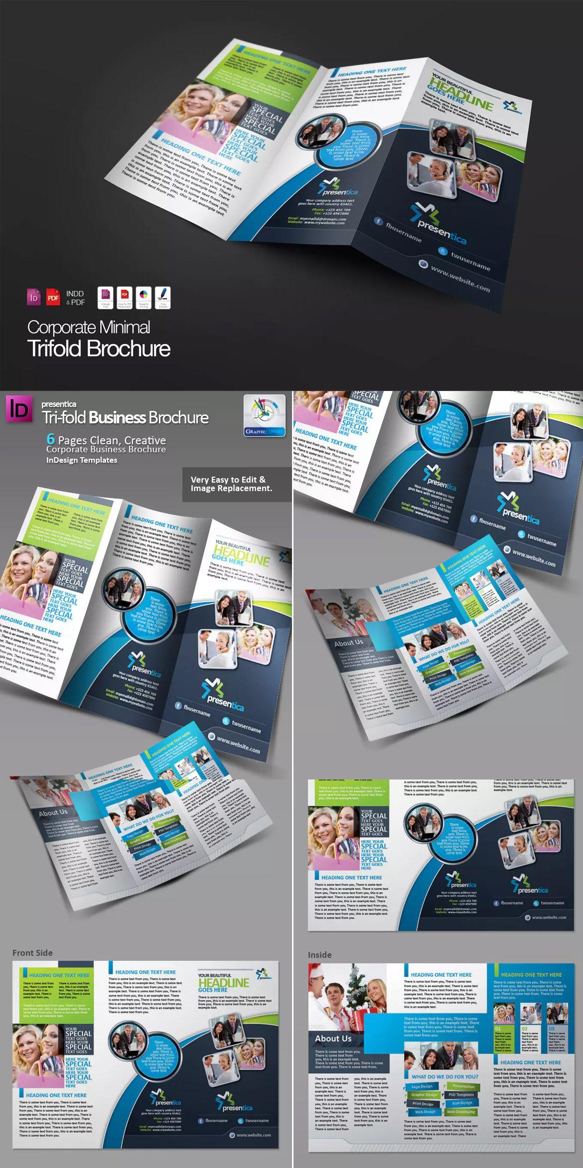 tri fold creative corporate brochure template indesign indd