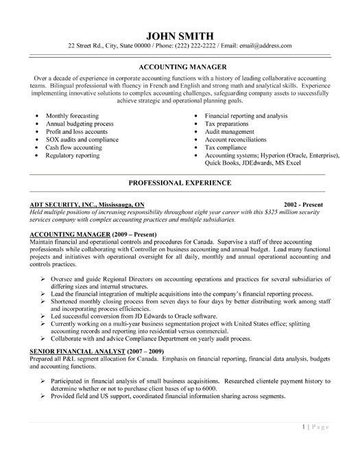 Click Here to Download this Accounting Manager Resume Template - financial advisor job description