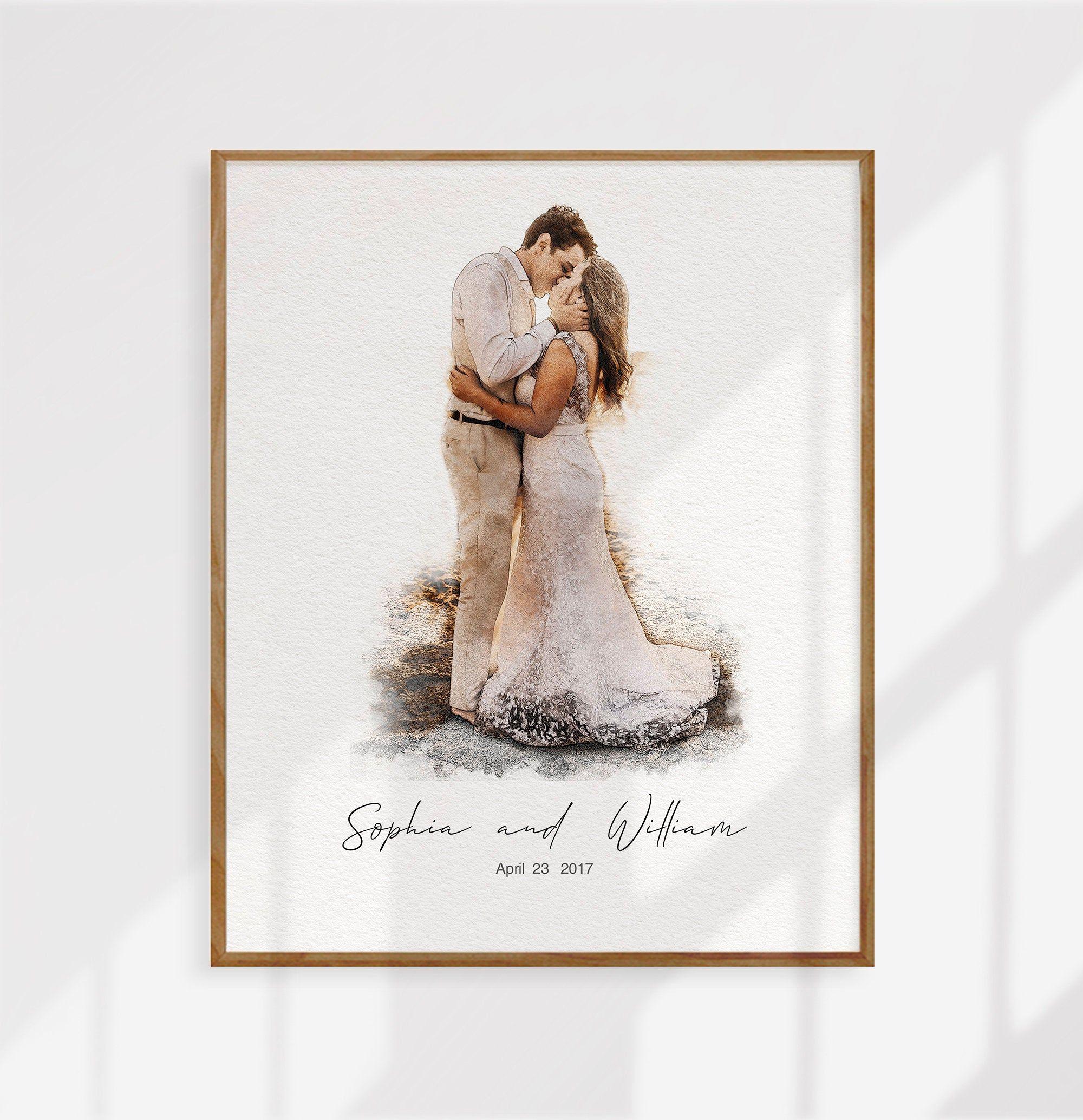 Custom Wedding Portrait Custom Wedding Watercolor Etsy Art Print Gifts Custom Wedding Illustration Wedding Art