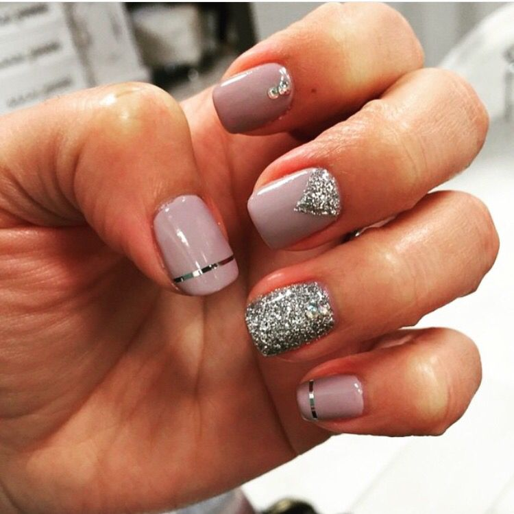 Gel Nail Design Miami: Purple And Silver Gel Nail