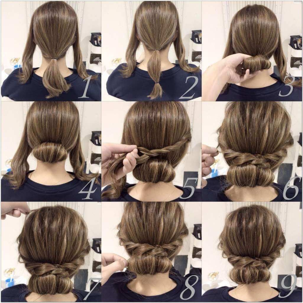 try this chic low chignon with braids | easy diy hair ideas