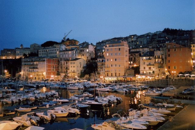 Bastia, the old harbour at night