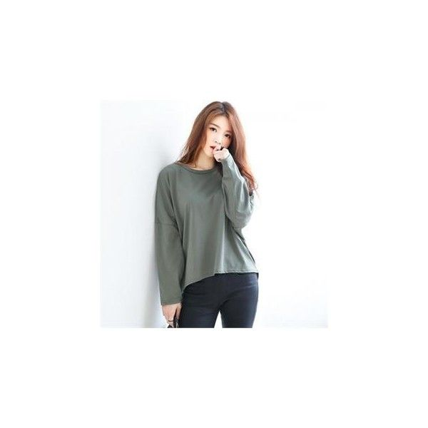 Long-Sleeve Oversized Dip-Back T-Shirt (€18) ❤ liked on Polyvore featuring tops, t-shirts, tees, women, henley tee, long sleeve t shirts, henley tops, oversized tee and longsleeve t shirts