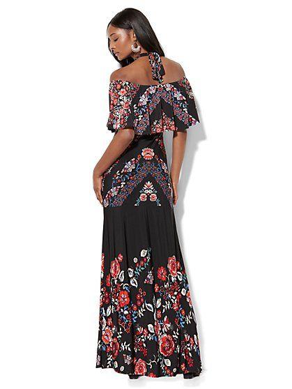 3ec1482bf41c Off-The-Shoulder Maxi Dress - Black Floral - New York   Company ...
