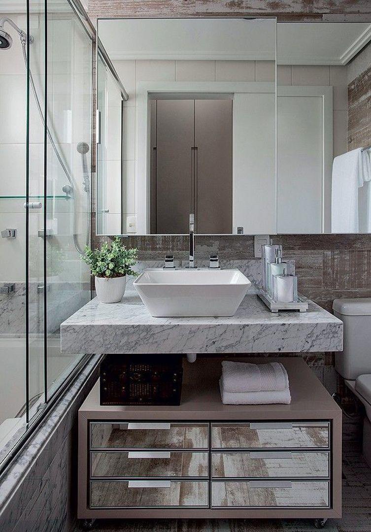 Banheiro Com Gaveteiro De Espelhos Banheiros Modernos Projeto