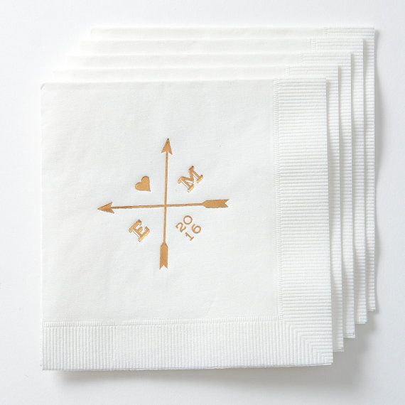 Arrows Initials Tail Napkins Wedding Decor Engagement Party Bridal Shower Foil Stamped Personalized