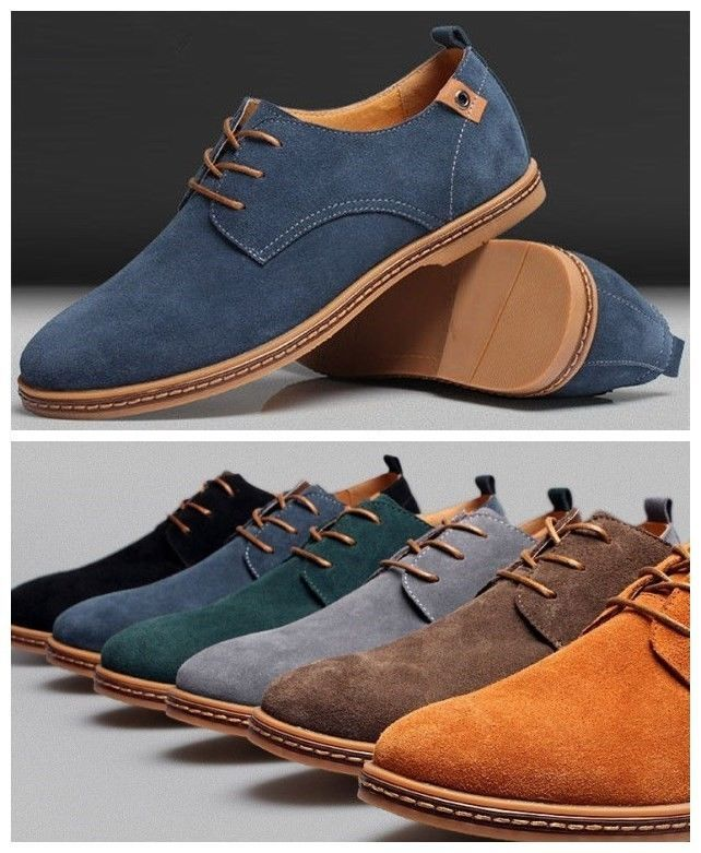 New Mens Casual Dress Formal Oxfords Flats Shoes Genuine Suede Leather Lace  Up  WenGeLang  FashionSneakers 2765fe69a562