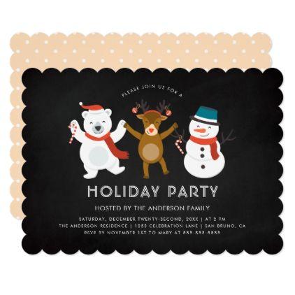 #Modern Polar Bear Reindeer & Snowman Holiday Party Card - #cute #pink #sweet #custom
