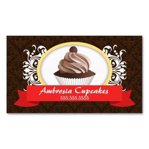 Cupcake bakery damask flourish business card templates baking cupcake bakery damask flourish business card templates flashek Images