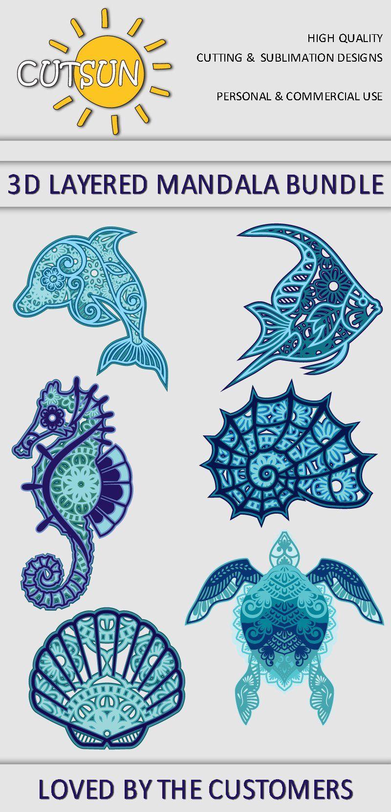 Download 3d Layered Mandala Sea Creatures Svg Bundle Layeredsvg Layeredmandalasvg Multilayeredmandalasvg Seasvg Nautical In 2020 Mandala Vinyl Decal Projects Sea Creatures