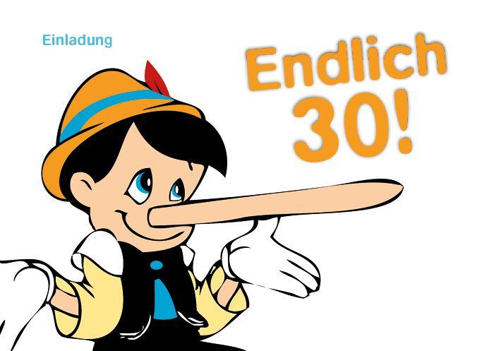 Einladungskarten   Einladung 30. Geburtstag (Pinoccio)   Ein Designerstück  Von CARDLAAN Bei DaWanda