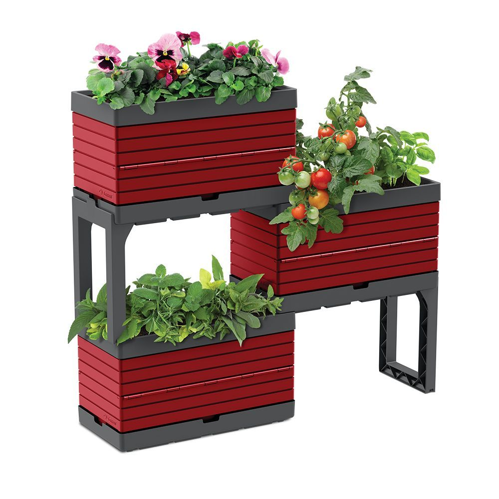 Modular Garden 3 Planters And 2 Legs Kit Red Perfect For Balcony Gardens In 2020 Raised Garden Beds Diy Raised Garden Beds Tiered Planter
