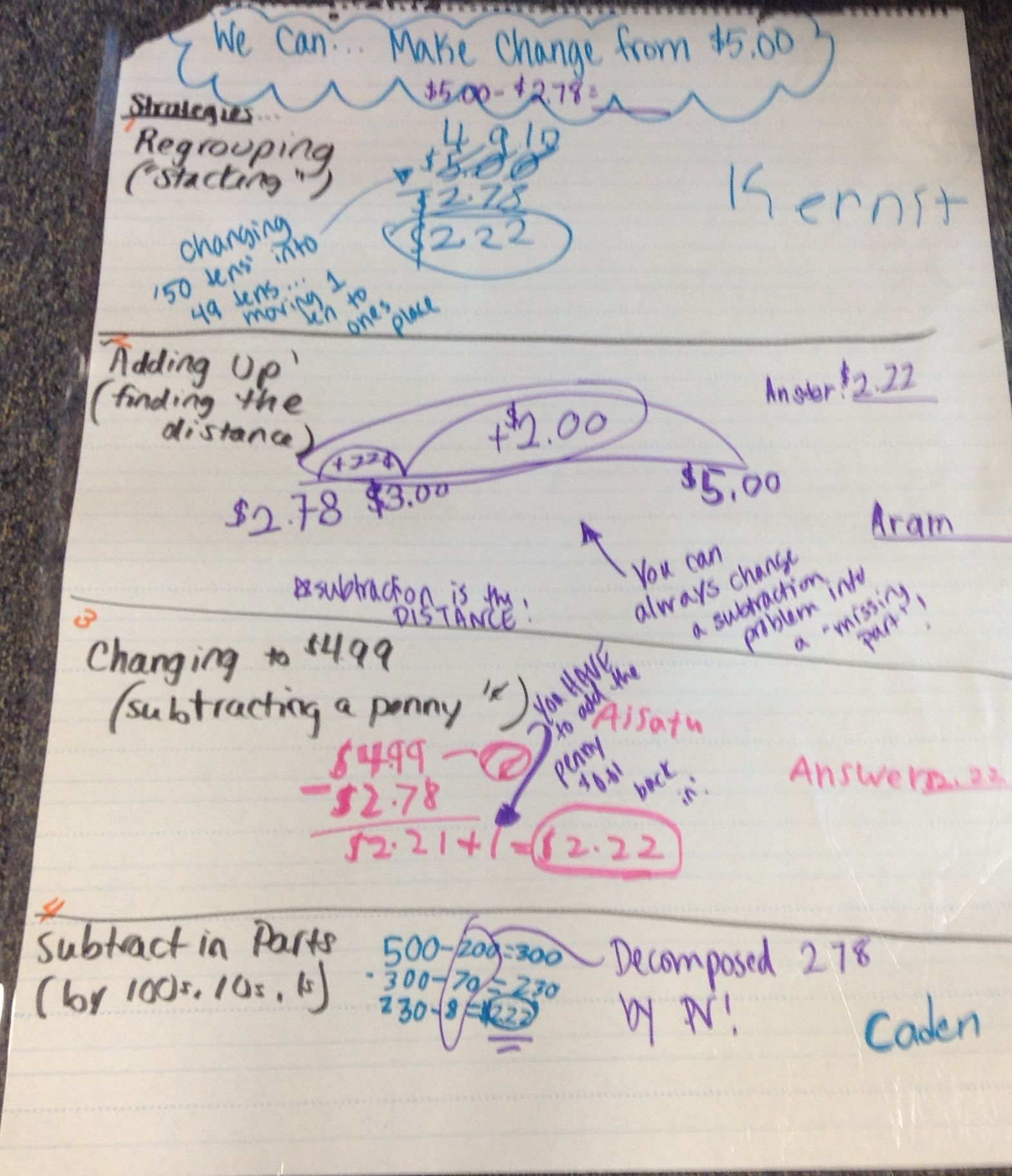 Strategies For Making Change Subtracting Money