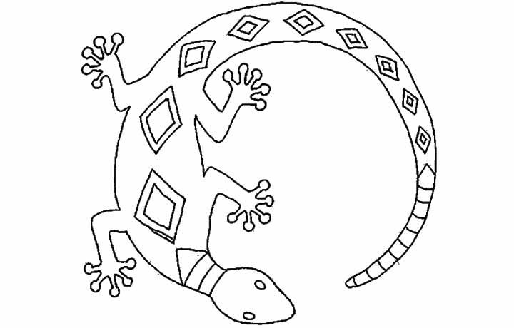 Lizard picture Colouring Pages Aboriginal dot painting