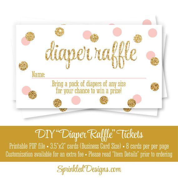 Printable Diaper Raffle Tickets Blush Pink Gold Glitter Baby Girl