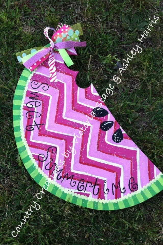 Sweet summertime Watermelon the perfect door hanger for summer it's 2ft tall and can be personalized different ways $30 find it on FB at http://www.facebook.com/pages/country-creations-by-victoria-stage-ashley-harris/181239195253661 or on etsy at www.etsy/shop/DoorHangersnMore