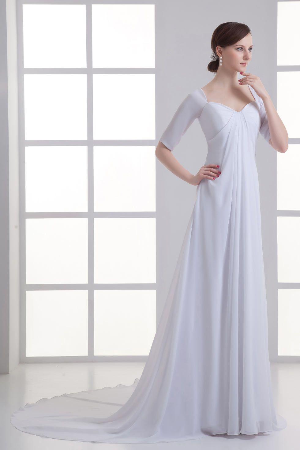 Chic half sleeves sweetheart court train chiffon wedding gown