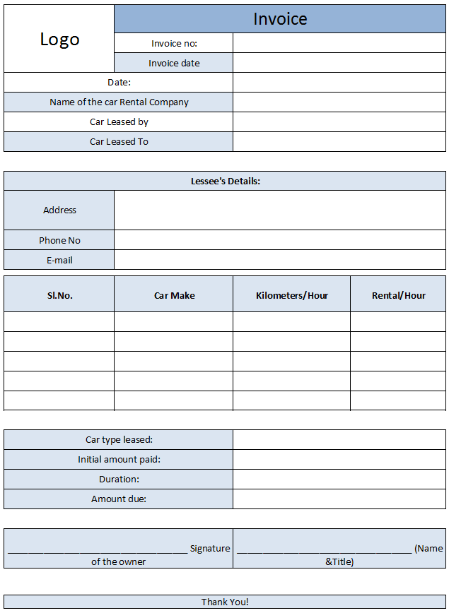 Car Rental Invoice Template Free Enterprise Car Rental Invoice - Create an invoice in excel second hand online store